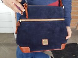 Dooney And Bourke Ss264 Navy Blue Suede Oversized Crossbody Bag New W/ Tags