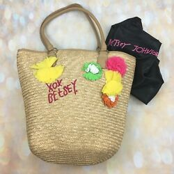 RARE Betsey Johnson Wicker Straw Tote Purse Bag Floral Flower Beach Large A391