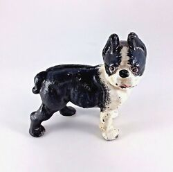 Cast Iron Boston Terrier Dog Bank Black White Door Stop Paperweight Gift