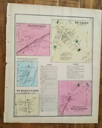 Antique Colored Map Dundaff And Lenoxville, Pennsylvania / A. Pomeroy And Co. 1872