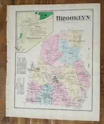 Antique Colored Map Brooklyn, Pennsylvania / A. Pomeroy And Co. 1872