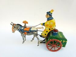 Antique Rare Old Wind-up Tin Toy Circus Clown Horseman Hours Zebra Waggon