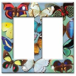 Art Plates - Outlet Cover OVERSIZE Switch Plate - Butterflies on Blue