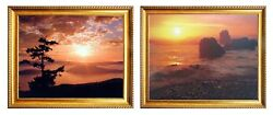 Sunset At Ecola State Park Beach Oregon Scenery 2 Set 8x10 Golden Framed Picture