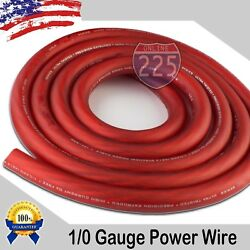 25 Ft True 1/0 0 Awg Gauge Power Positive Wire Strand Cable 25' Red High Quality
