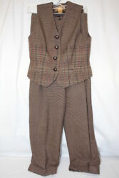 Classiques Entier Petites 100 Wool Pleated Pant And Matching Vest Womens 6-b110