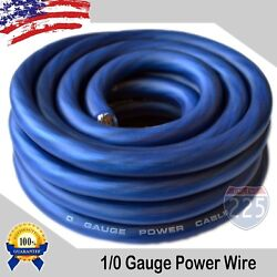 24ft True 1/0 0 Awg Gauge Power Ground Wire Strand Cable 25and039 Blue Ultra Flexible