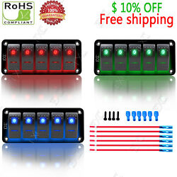 Waterproof Toggle Automotive Switch Panel Dual LED Car Marine Boat Racing Rocker