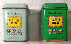 Lot Of 2 Vintage John Wagner And Sons Tins - Formosa Oolong And Pan Fired Green Tea