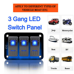 3-Gang Waterproof USB Toggle Automotive Switch Panel Decal LED Car Marine Boat