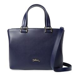 NWT FRANCE MADE LONGCHAMP Honore 404 Sml Leather Satchel Bag NAVY Blue $550 AUTH