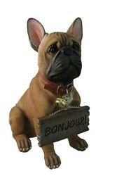 French Bulldog Welcoming Statue Pet Bull Dog Outdoor Sculpture Figurines Decor
