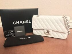 AUTHENTIC CHANEL MEDIUMLARGE WHITE CAVIAR CLASSIC FLAP