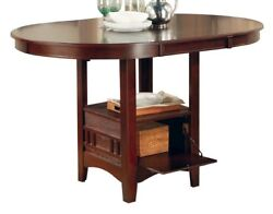Extendable Counter Height Dining Table Extension Leaf Dark Storage Wood Veneer