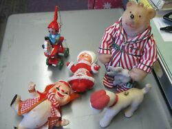 lot of vintage christmas ornament flocked felt clown elf bear dog mrs. claus