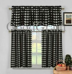 Black Gingham Checkered Plaid Farmhouse Kitchen Curtain Tier And Valance Set