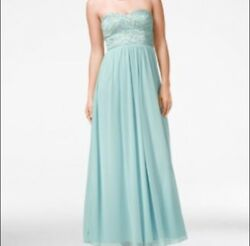 Nwt Womens Speechless Lace Bodice Strapless Gown Juniors Size 5 Antique Blue