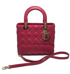 CHRISTIAN DIOR SMALL 'LADY DIOR' PINK LEATHER BAG WITH STRAP $4700