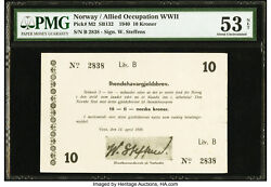 Norway Lot P-m2 1940 10 Kroner Pmg About New Au 53 Army High Command