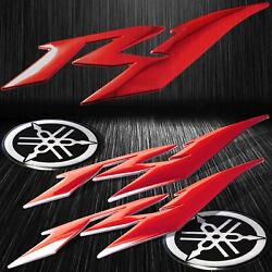6abs 3d Logo Emblem Decal+brushed Metal Look Sticker For Yzf-r1/r1s Chromed Red