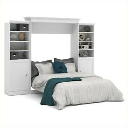 Atlin Designs 115and039and039 Queen Wall Bed With 2 Piece 2 Door Storage Unit In White