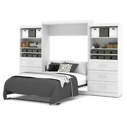 Atlin Designs Queen Wall Bed with Storage in White