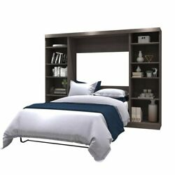 Atlin Designs 109 Full Wall Bed With Storage In Bark Gray