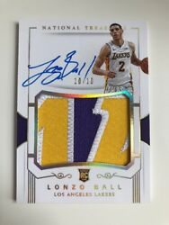 17-18 National Treasures #102 Lonzo Ball Rookie Patch Auto Card Gold 1010