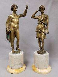 Pair Of Antique 16th Or 17th Century Renaissance Bronze Sculptures Man And Woman