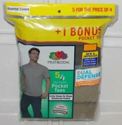 Fruit Of The Loom Menand039s Pocket T-shirts Tees 5-pack Assorted Colors Sizes- M-xl