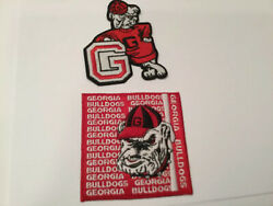 2 UGA GEORGIA BULLDOGS VINTAGE Embroidered Iron On Patches patch lot