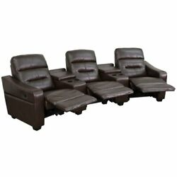 Bowery Hill 3 Seat Leather Reclining Home Theater Seating In Brown