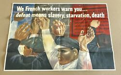 Rare Original Wwii 1942 Owi Poster We French Workers Warn You Govt Print War