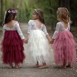 Flower Girl Lace Wedding Bridesmaid Party Long Maxi Dress for Toddler Baby Kids