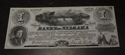 1860and039s 1 Units Banks Of Niagara N.y. Advertising Scrip- About Unc
