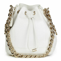 CHRISTIAN DIOR WHITE PYTHON LEATHER SMALL BUBBLE BUCKET BAG HB1865