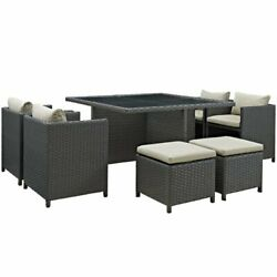 Hawthorne Collection 9 Piece Glass Top Patio Dining Set In Beige