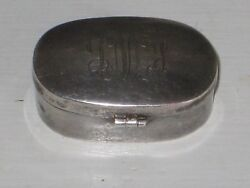 Vintage Sterling Silver Pill Box Oval Engraved 925 Hallmarked 1 1/4