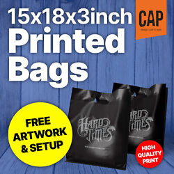 Personalised Retail Boutique Carrier Bags   Free Artwork   15x18x3andrdquo Plastic Bags