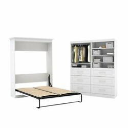 2 Piece Bedroom Set With Storage Unit And Wall Bed In White