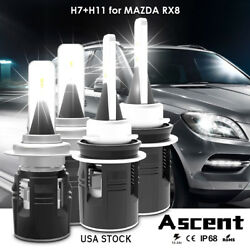 4X H7 H11 High Power Led Headlight Bulbs High Low Beam For Mazda RX8 2008-2004