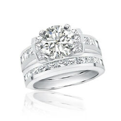 Bridal Ring Set Platinum 6.00 Carat Round and Princess Diamond GIA certified