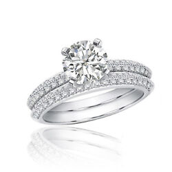 Platinum Bridal Ring Set 5.50 Carat Round Shape Diamond Halo Pave GIA Certified