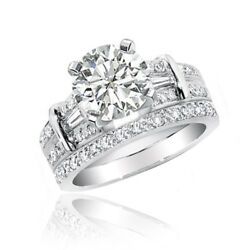 Round and Baguette Diamond Bridal Ring Set Platinum 4.50 Carat GIA Certified