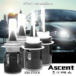 4x H7 H11  High Power Led Headlight Bulbs High Low Beam For Mazda 6 2010-2009 US