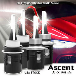4x 9005 HB3 H11 High Power LED Headlight Kit Bulbs For GMC Sierra 2013 US Stock