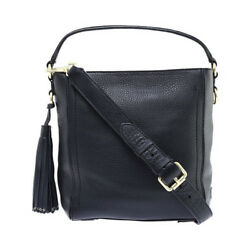 Cole Haan Women's   Cassidy Small Bucket Bag Black Pebble Leather Size OSFA