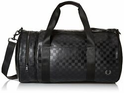 Fred Perry Men's Textured Barrel Bag Checkerboard Black