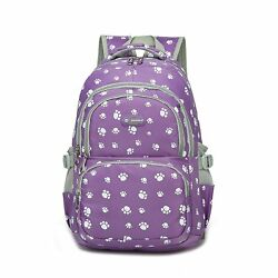 MATMO Cute Bear Pawprint Pattern Backpack for Primary or Middle School Girl