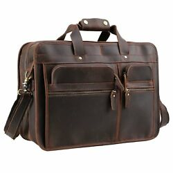 Texbo Men's Solid Top Cowhide Leather Messenger Bag Large Briefc